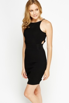 Ribbed Cut Out Bodycon Dress
