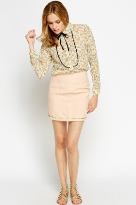 Sequin Trim Mini Skirt