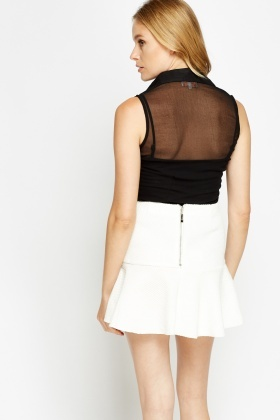Sheer Sleeveless Button Front Shirt