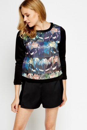 Tropical Printed Front Sweatshirt