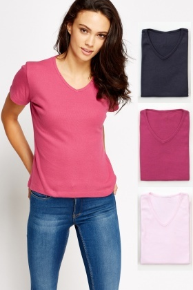 Pack Of 3 Casual V-Neck T-Shirt