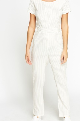 Striped Off White Jumpsuit