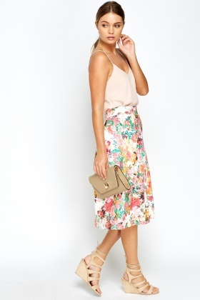 White Wild Floral Pleated Skater Skirt