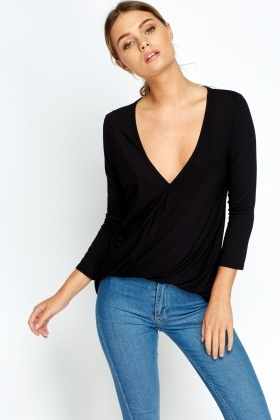 Wrap Front Dip Hem Party Top