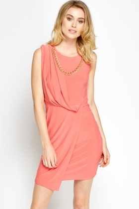 Chain Embellished Wrap Dress
