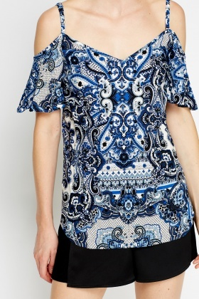 Cold Shoulder Blue Top