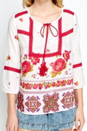 Embroidered Printed Vintage Top