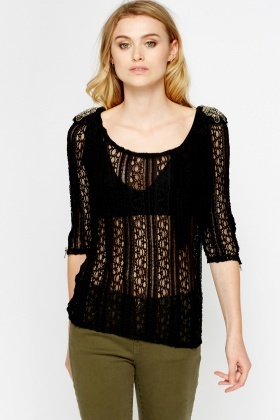 Encrusted Shoulder Lace Top