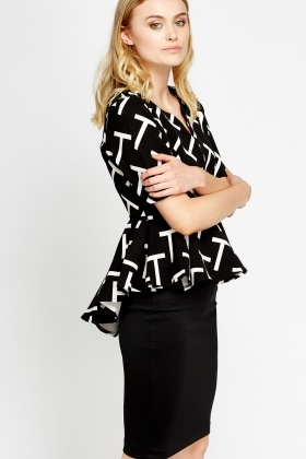 Peplum Printed Top
