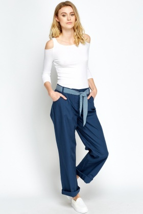 Wide Leg Belted Chinos