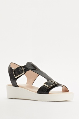 Black Faux Leather T-Bar Wedge Sandals