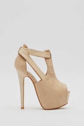 Contrast Cut Out Suedette Platformed Heels