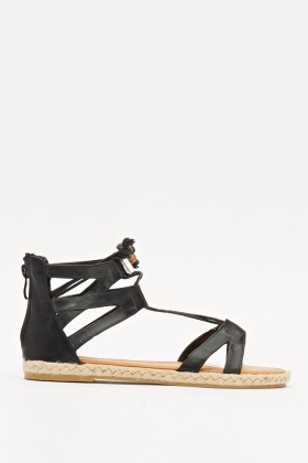 Espadrille Faux Leather Tie Up Sandals