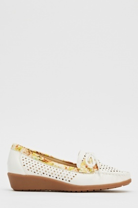 Laser Cut Out Laced Wedge Loafers