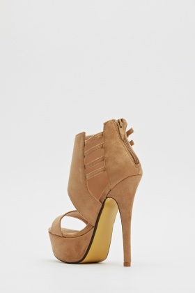Suedette Buckle Side Platformed Heels