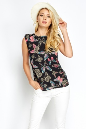 Bow Back Printed Top