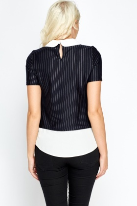 Collard Pinstriped Insert Shirt Top