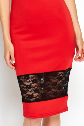 Lace Insert Midi Bodycon Dress