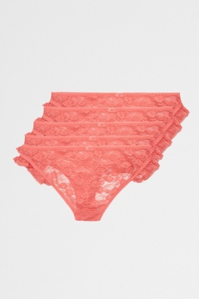 Pack Of 5 Coral Lace Frilled Briefs