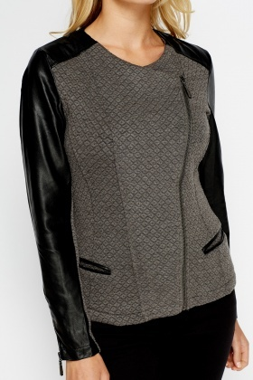 Faux Leather Sleeve Contrast Jacket