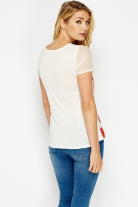 Mesh Insert Sweetheart White T-Shirt