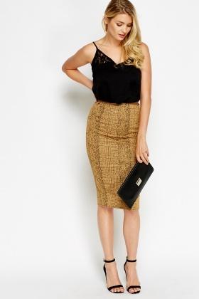 Mock Croc Light Brown Skirt - Just £5