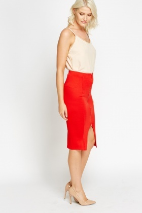 Zip Front Red Midi Skirt - Just £5