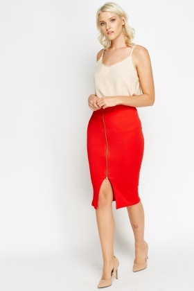 Zip Front Red Midi Skirt