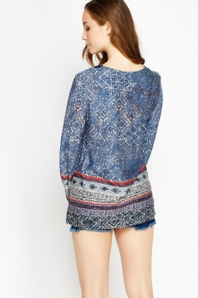Blue Mixed Print Long Top