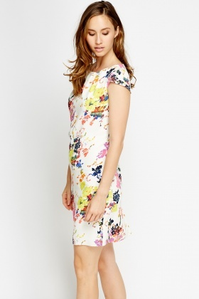 Cup Sleeve Floral Shift Dress