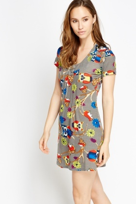 Fleeced Mixed Owl Print Dress
