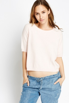 Light Pink Cropped Ribbed Jumper