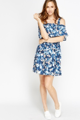 Printed Blue Ruffled Top Dress
