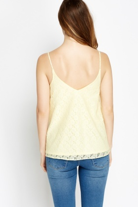Yellow Lace Overlay Cami Top