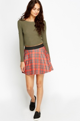 Check Red Swing Mini Skirt