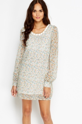 Encrusted Neck Printed Shift Dress