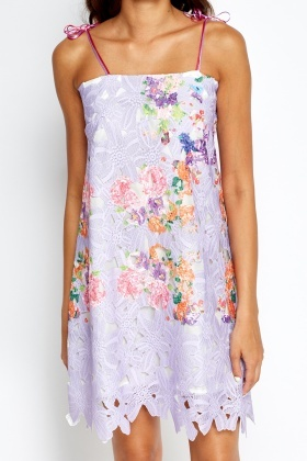 Floral Mesh Tie Up Dress