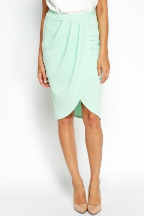 Pleated Wrap Mint Skirt
