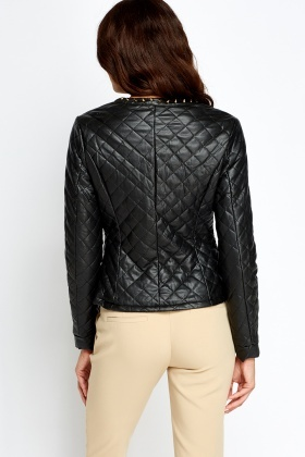 Studded Trim Quilted Jacket