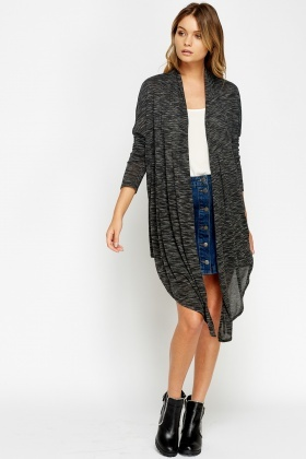 Asymmetric Speckled Long Cardigan