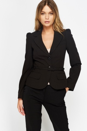 Black Fitted Belted Blazer