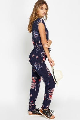 Navy Multi Floral Jumpsuit