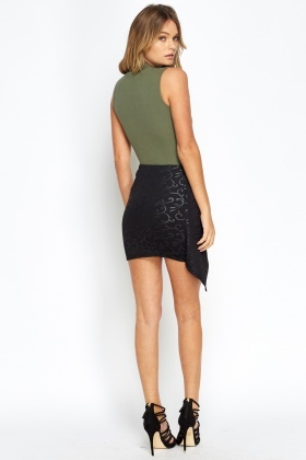 Asymmetric Overlay Mini Skirt