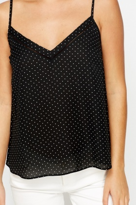 Cut Out Back Dotted Cami Top
