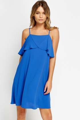 Flare Overlay Bright Blue Dress
