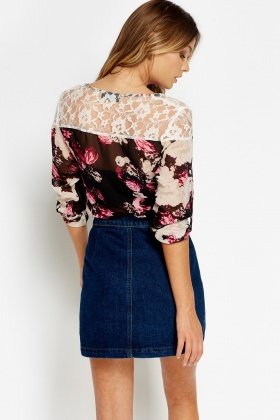 Lace Shoulder Printed Top