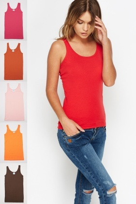 Pack Of 6 Ribbed Vest Top