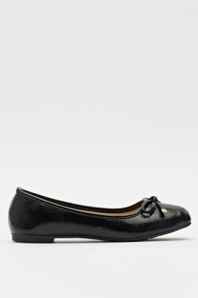 Front Bow Metallic Shine Ballerinas