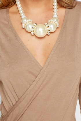 Large Gold Faux Pearl Necklace