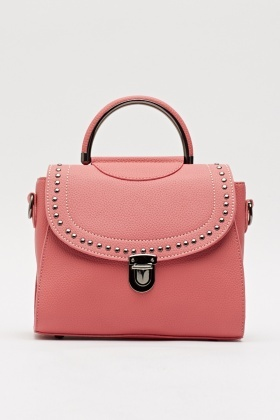 Studded Flap Trim Handbag